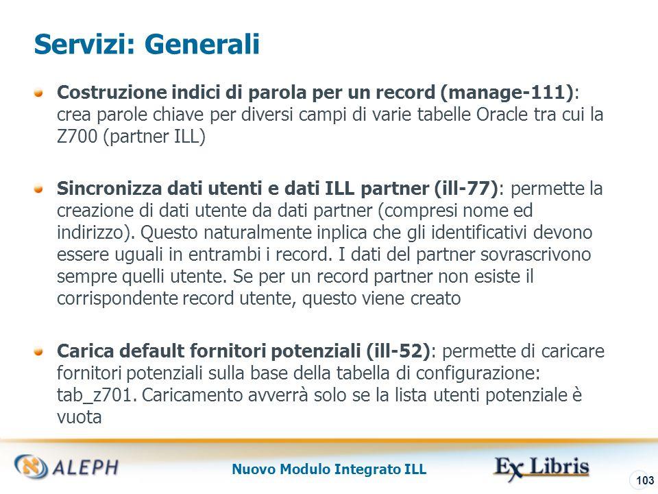 Nuovo Modulo Integrato ILL 104 Servizi: Borrowing Report Statistico Borrowing Library(ill-63) produce un report statistico che può includere varie informazioni: richieste evase, pendenti, non soddisfatte…..