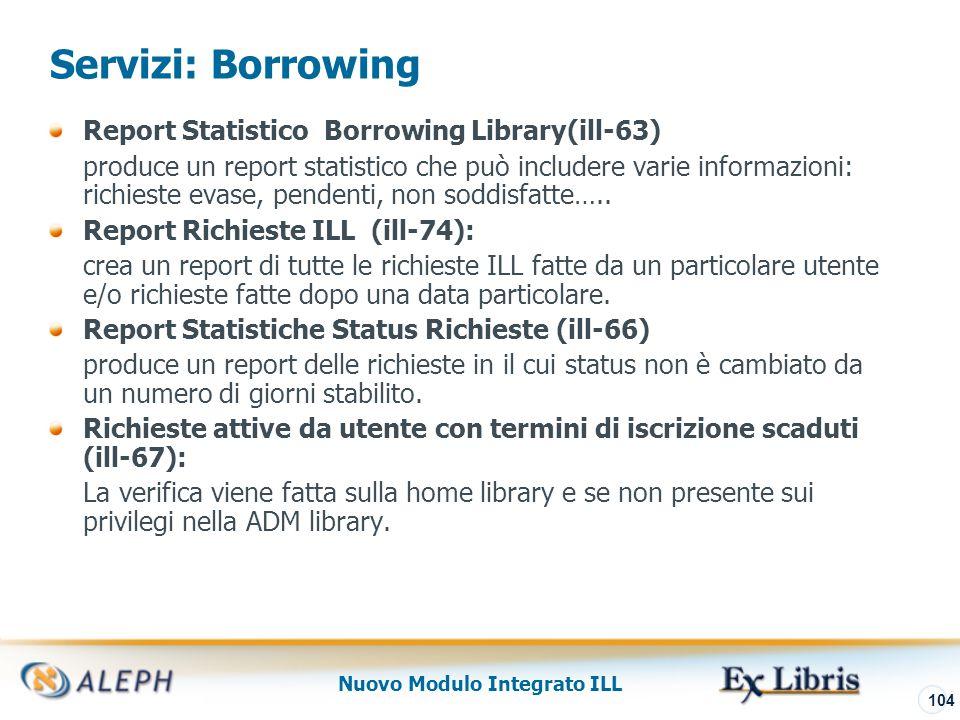 Nuovo Modulo Integrato ILL 105 Servizi: Borrowing Report Solleciti e Lettere (ill-73) crea un report delle richieste ILL che non sono state ricevute entro la data prevista di avviso (richieste con status Inviato al fornitore).