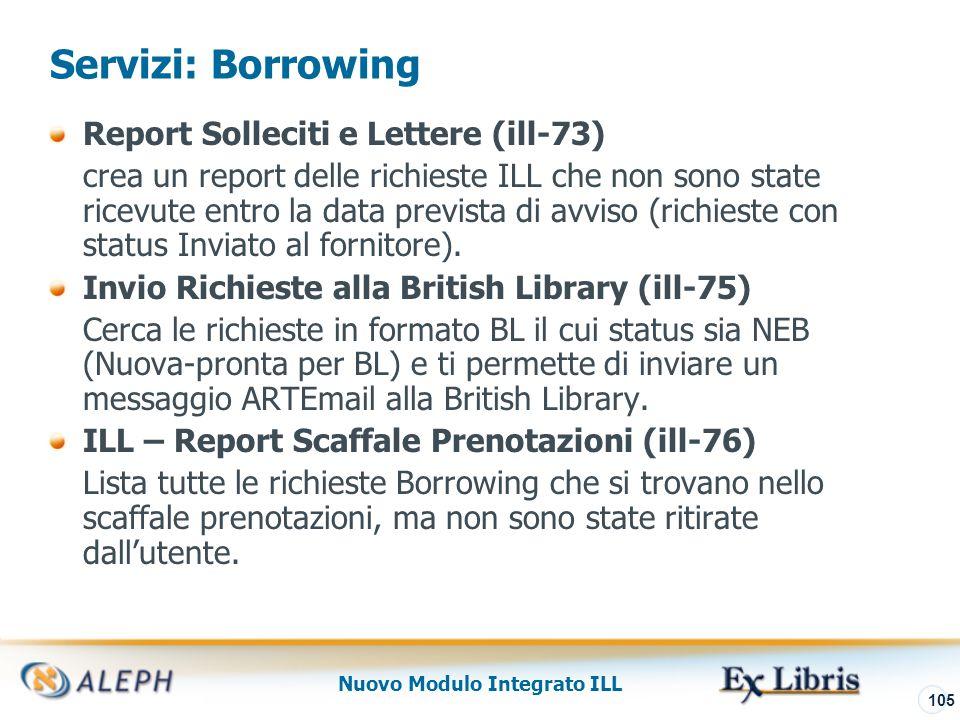 Nuovo Modulo Integrato ILL 106 Servizi Archiving Archiviazione Documenti ILLSV (ill-71) – Solo per ISO-ILL Permette l'archiviazione di documenti ILLSV.