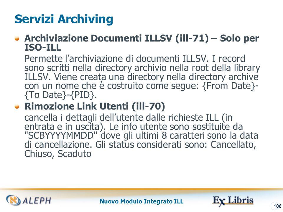 Nuovo Modulo Integrato ILL 107 Servizi Lending Report Statistiche Lending (ill-64) Questo servizio produce un report statistico che include ID richiedente, N.
