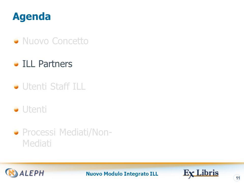 Nuovo Modulo Integrato ILL 12 Partner Due tipi di partner ILL: Partner Interni (Unità ILL) Partner Esterni (fornitori e richiedenti)