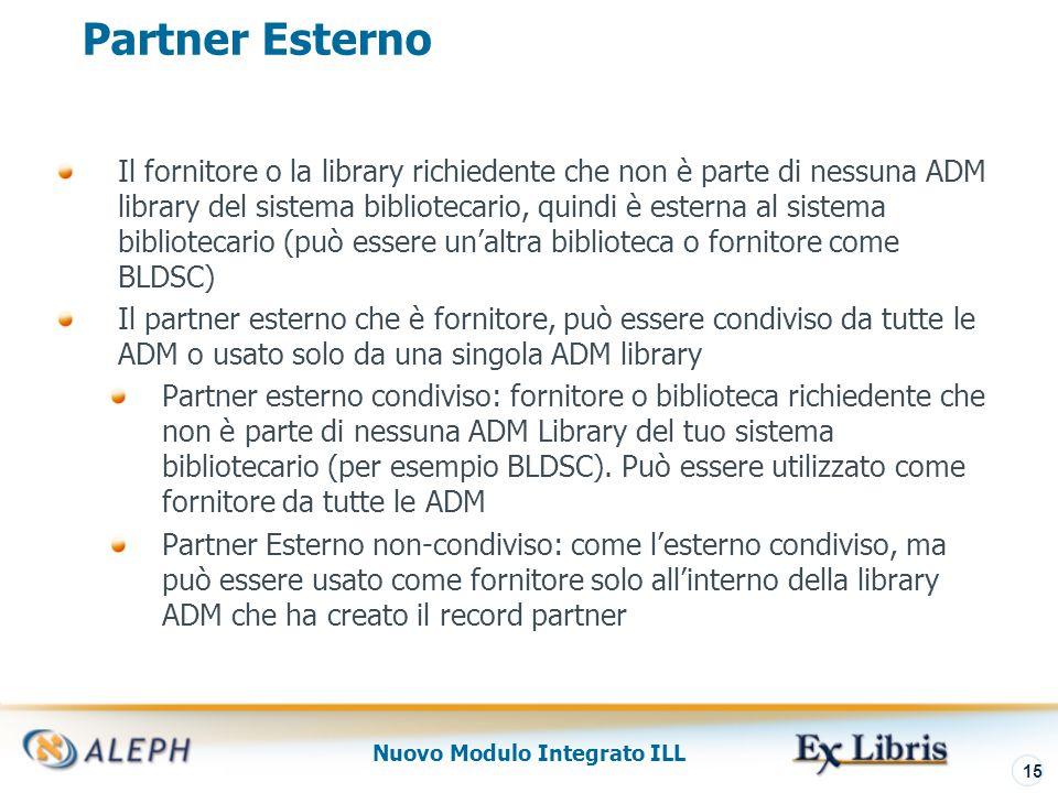 Nuovo Modulo Integrato ILL 16 Lista Partner