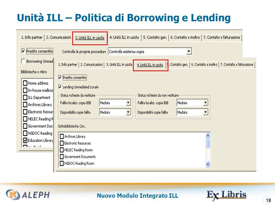 Nuovo Modulo Integrato ILL 19 Roster dei Fornitori Potenziali Lista che configura l'ordinamento dei partner ILL (interni ed esterni) cui la richiesta borrowing è diretta Consultato da ALEPH quando il sistema cerca di assegnare fornitori potenziali per una richiesta borrowing Definito per singola unità ILL, ogni unità può quindi definire separatamente le proprie preferenze