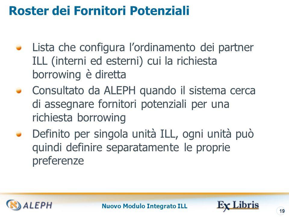 Nuovo Modulo Integrato ILL 20 Lista Fornitori Potenziali