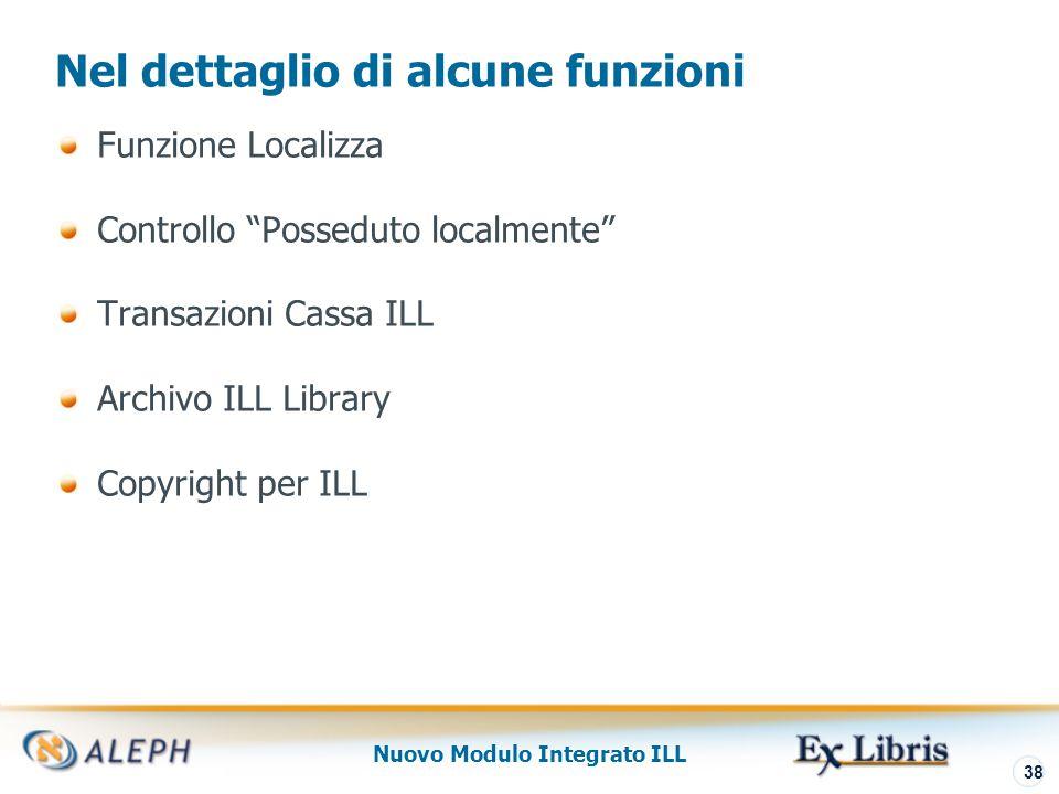 Nuovo Modulo Integrato ILL 39 Nel dettaglio di alcune funzioni Funzione Localizza Controllo Posseduto localmente Transazioni Cassa ILL Archivo ILL Library Copyright per ILL