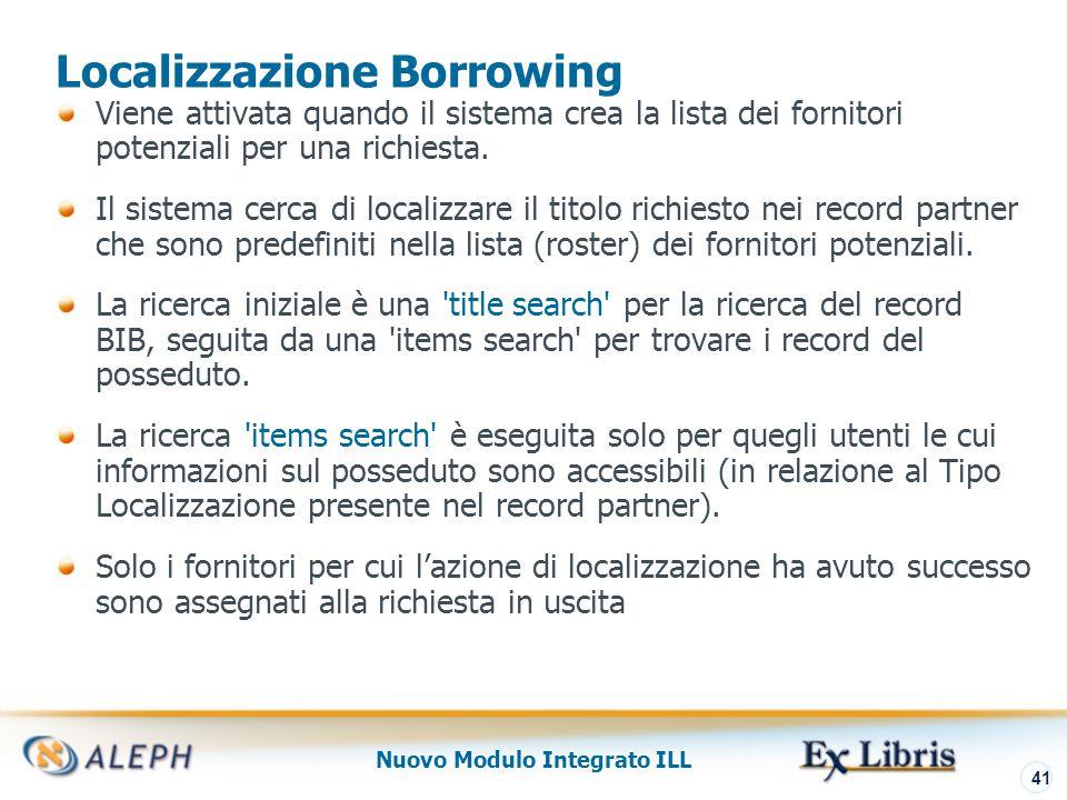 Nuovo Modulo Integrato ILL 42 Localizzazione Borrowing Lista potenziali fornitori
