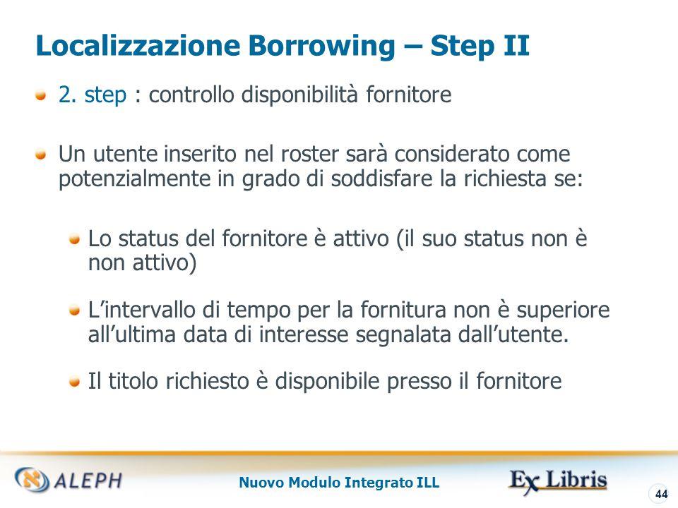 Nuovo Modulo Integrato ILL 45 Localizzazione Borrowing - Step III 3.