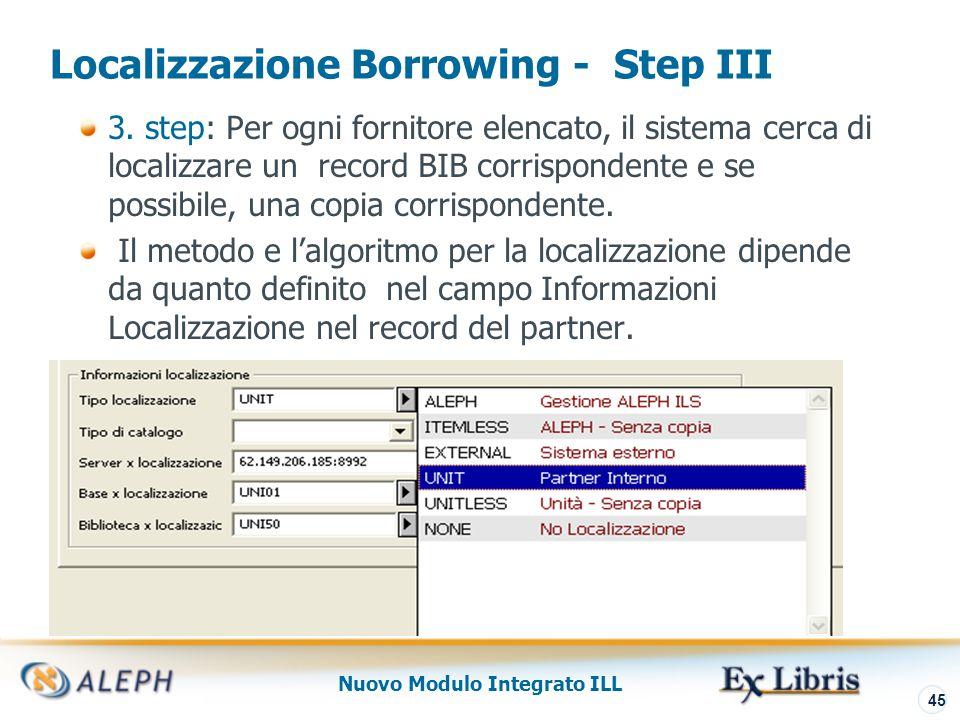 Nuovo Modulo Integrato ILL 46 Localizzazione Lending La Localizzazione viene richiamata quando la richiesta in entrata è verificata dalla unità ILL per vedere se è in grado di soddisfarla.