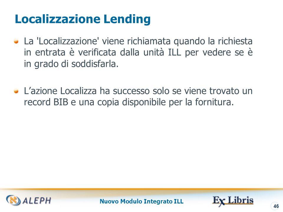 Nuovo Modulo Integrato ILL 47 Localizzazione Lending Azione Localizza: Lisa delle copie localizzate