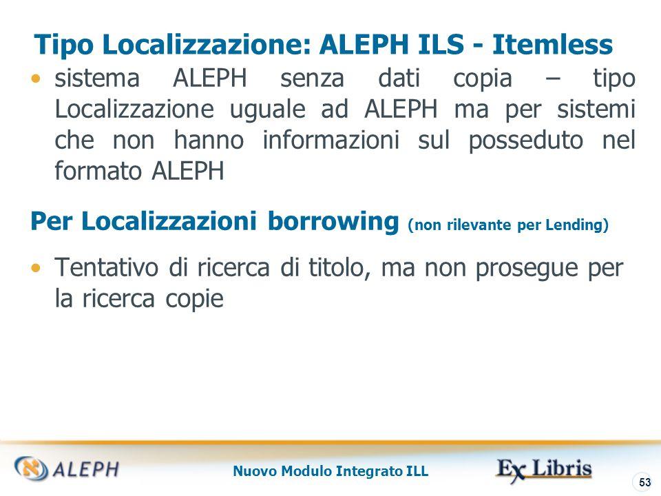 Nuovo Modulo Integrato ILL 54 Tipo Localizzazione External Z39.50 La base del fornitore è una installazione esterna.