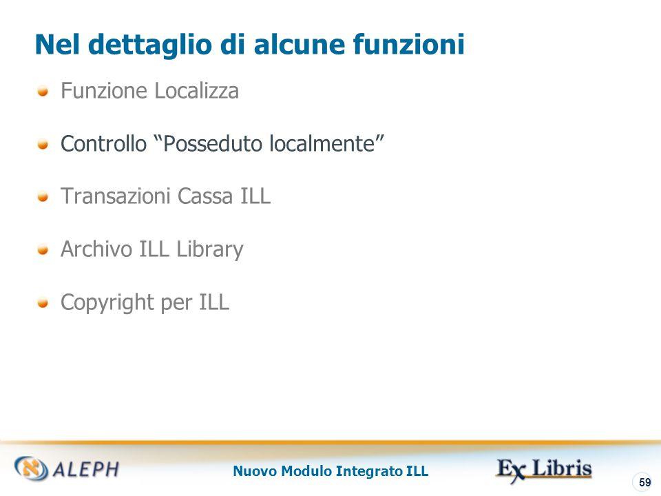 Nuovo Modulo Integrato ILL 60 Controllo Posseduto Localmente E' possibile configurare il sistema per verificare che il titolo richiesto via ILL borrowing non sia posseduto dalla biblioteca.