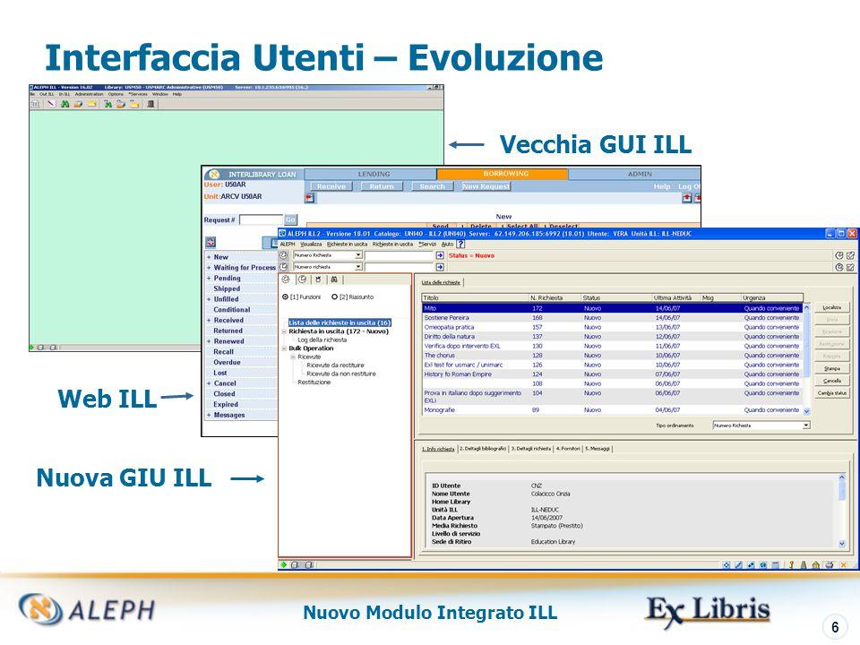 Nuovo Modulo Integrato ILL 7 Integrated ILL – Elementi Principali Sistema singolo, singolo DB, singolo design UI Vari protocolli per comunicazioni per fornitori e richiedenti Opzioni per flussi di lavoro automatici e Web- based ILL Migliore integrazione con il modulo Circolazione e altri moduli ALEPH