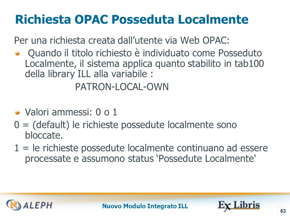 Nuovo Modulo Integrato ILL 64 Nel dettaglio di alcune funzioni Funzione Localizza Controllo Posseduto localmente Transazioni Cassa ILL Archivo ILL Library Copyright per ILL