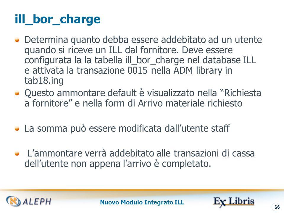 Nuovo Modulo Integrato ILL 67 Ricezione Materiale Borrowing - Addebito per l'Utente Circolazione – Transazioni Cassa 0015