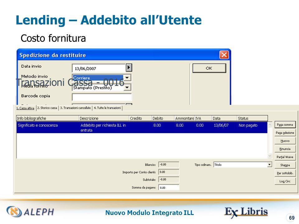Nuovo Modulo Integrato ILL 70 Nel dettaglio di alcune funzioni Funzione Localizza Controllo Posseduto localmente Transazioni Cassa ILL Archivo ILL Library Copyright per ILL