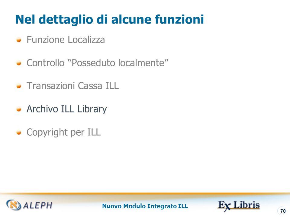 Nuovo Modulo Integrato ILL 71 Archivio ILL Library La ILLSV library (ILL Server Library) è rilevante solo per quei siti che utilizzano il protocollo ISO ILL.
