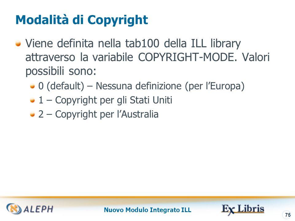 Nuovo Modulo Integrato ILL 76 tab47 – Copyright Statement Policy La tabellla ILL, tab47.lng, determina quale è la politica cui gli utenti devono attenersi Per ogni combinazioen di codice fornitore (Col.1) e tipo di materiale richiesto (Col.4), è possibile definire se l'accettazione di copyright da parte dell'utente è obbligatoria (Col.2) e se bloccare la richiesta nel caso in cui non sia selezionata la check-box (Col.3) Esempio configurazione tab47.ita ILL-NEDUC Y Y C-PRINTED Libro (fotocopia)