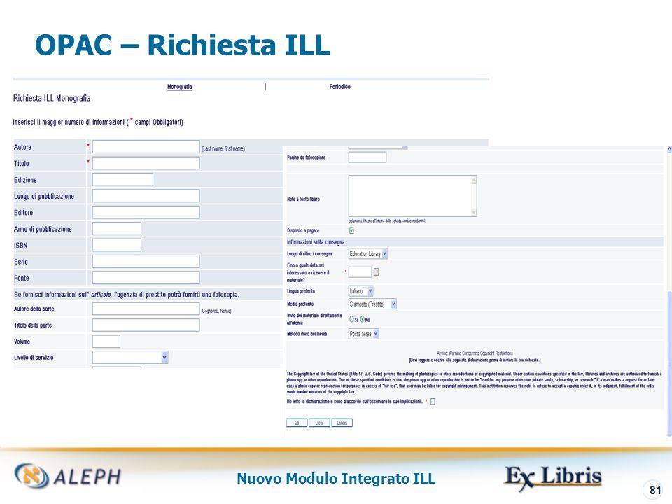 Nuovo Modulo Integrato ILL 82 GUI – Richiesta ILL