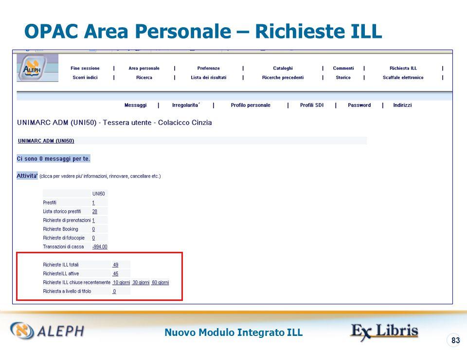 Nuovo Modulo Integrato ILL 84 Borrowing – Richieste New