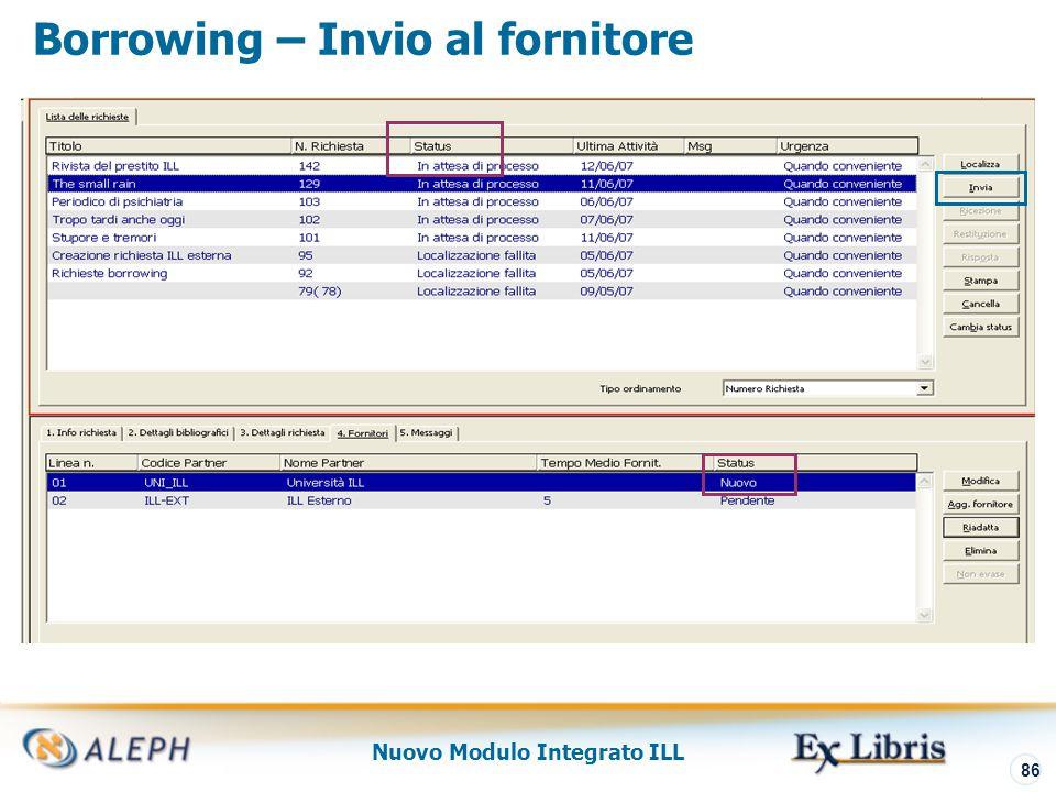 Nuovo Modulo Integrato ILL 87 Borrowing – Localizzazione non-mediata/invio Entrambe le azioni: Localizzano il fornitore potenziale per soddisfare la richiesta Inviano la richiesta al fornitore Possono essere eseguite in modo non mediato (attraverso la UE_19) UE_19 può anche inviare al fornitore in posizione successiva nella lista, se quello precedente non soddisfa la richiesta
