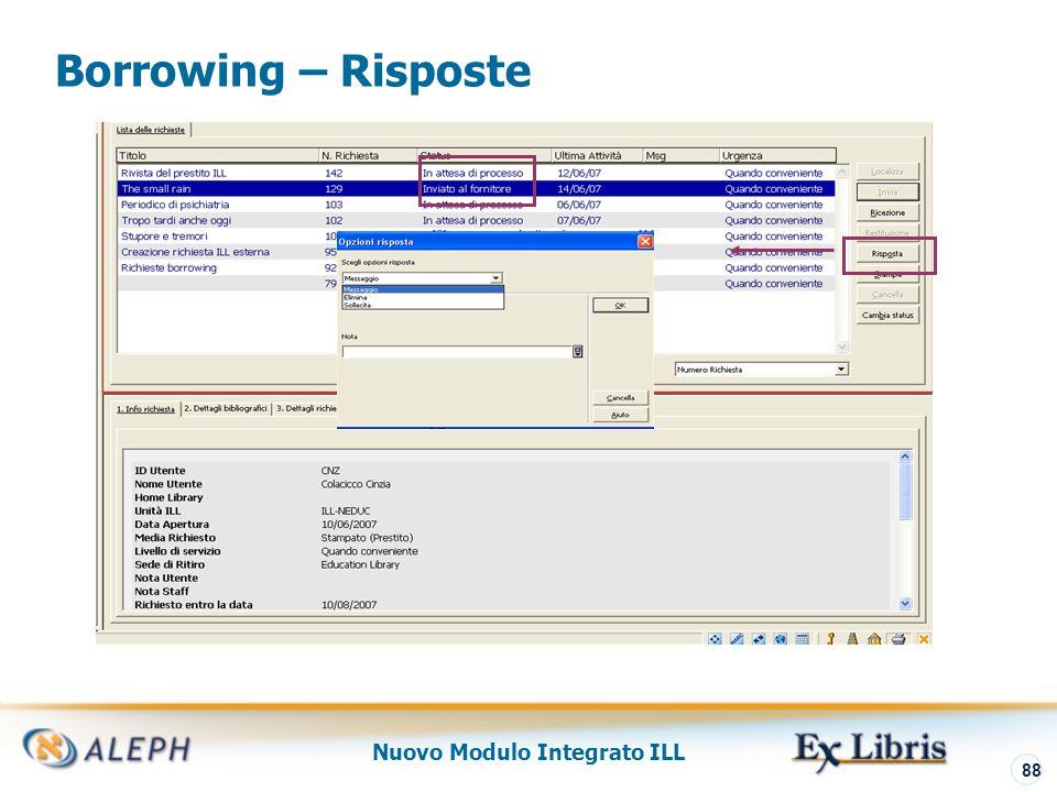 Nuovo Modulo Integrato ILL 89 Borrowing – Arrivo Materiale