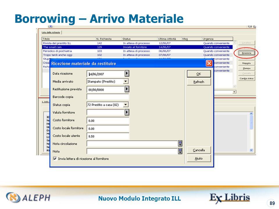 Nuovo Modulo Integrato ILL 90 Borrowing – Registrazione Copia e Prestito GUI - Circolazione L ' utente può rinnovare il prestito ILL via OPAC