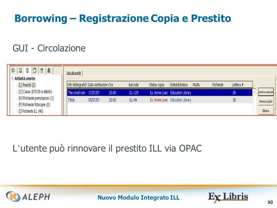 Nuovo Modulo Integrato ILL 91 Borrowing – Restituzione al Fornitore La restituzione può avvenire anche tramite il modulo Circolazione