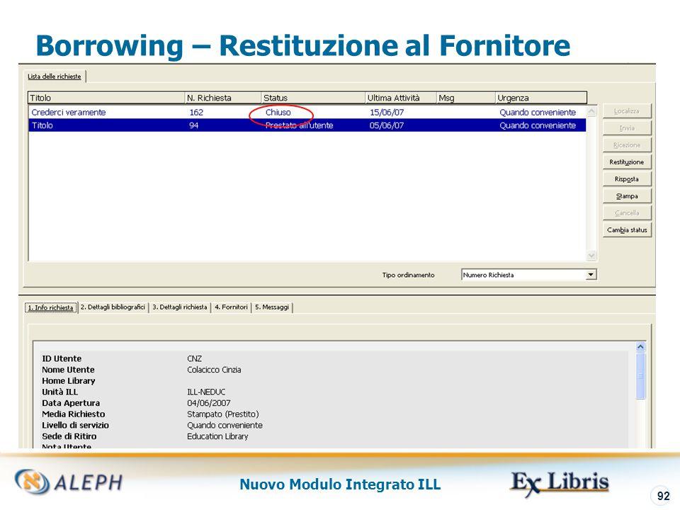 Nuovo Modulo Integrato ILL 93 Flussi di Lavoro Borrowing Lending
