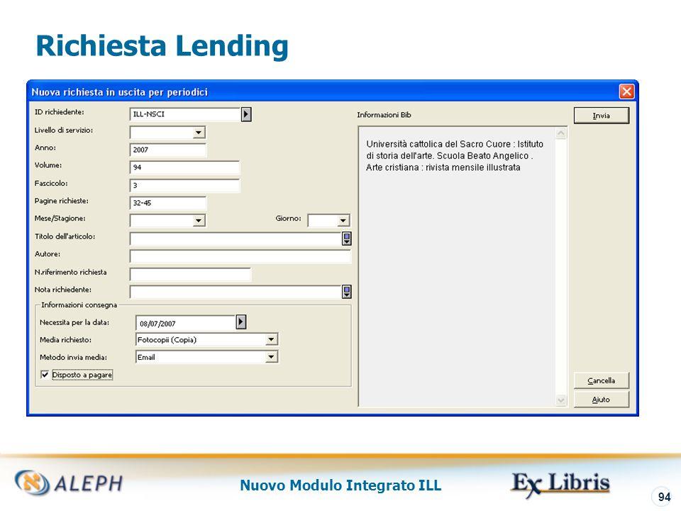 Nuovo Modulo Integrato ILL 95 Lending – Richiete New