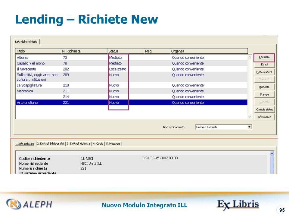 Nuovo Modulo Integrato ILL 96 Lending – Preview Localizzazione ALEPH cerca di localizzare una copia per soddisfare la richiesta ILa sottobiblioteca della copia deve corrispondere ad una delle Unità ILL di Lending (come definito nel record della Unità ILL)