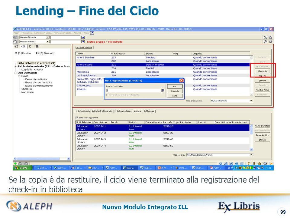 Nuovo Modulo Integrato ILL 100 Borrowing e Lending – Log Richiesta