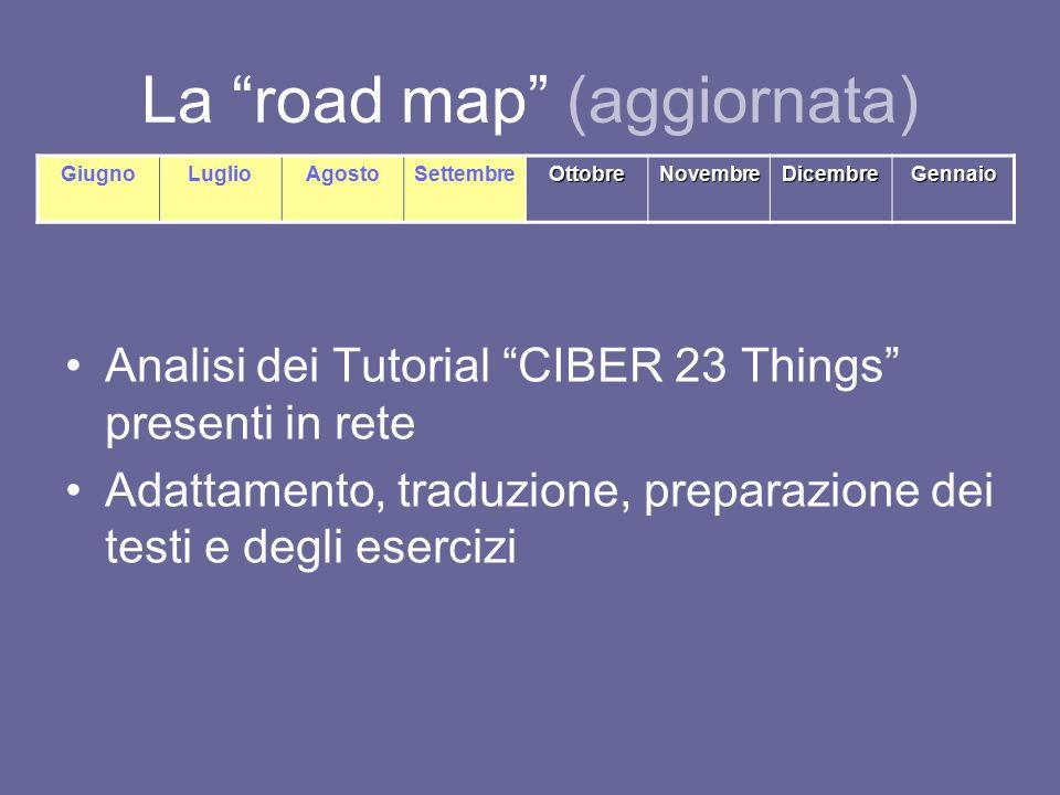 La road map (aggiornata) Analisi dei Tutorial CIBER 23 Things presenti in rete Adattamento, traduzione, preparazione dei testi e degli esercizi GiugnoLuglioAgostoSettembreOttobreNovembreDicembreGennaio