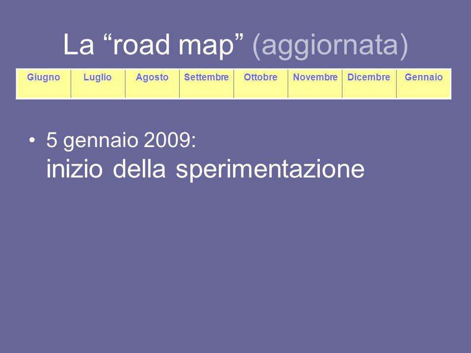 La road map (aggiornata) 5 gennaio 2009: inizio della sperimentazione GiugnoLuglioAgostoSettembreOttobreNovembreDicembreGennaio