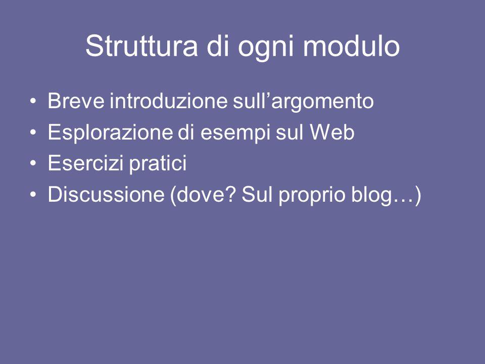 Struttura di ogni modulo Breve introduzione sull'argomento Esplorazione di esempi sul Web Esercizi pratici Discussione (dove.