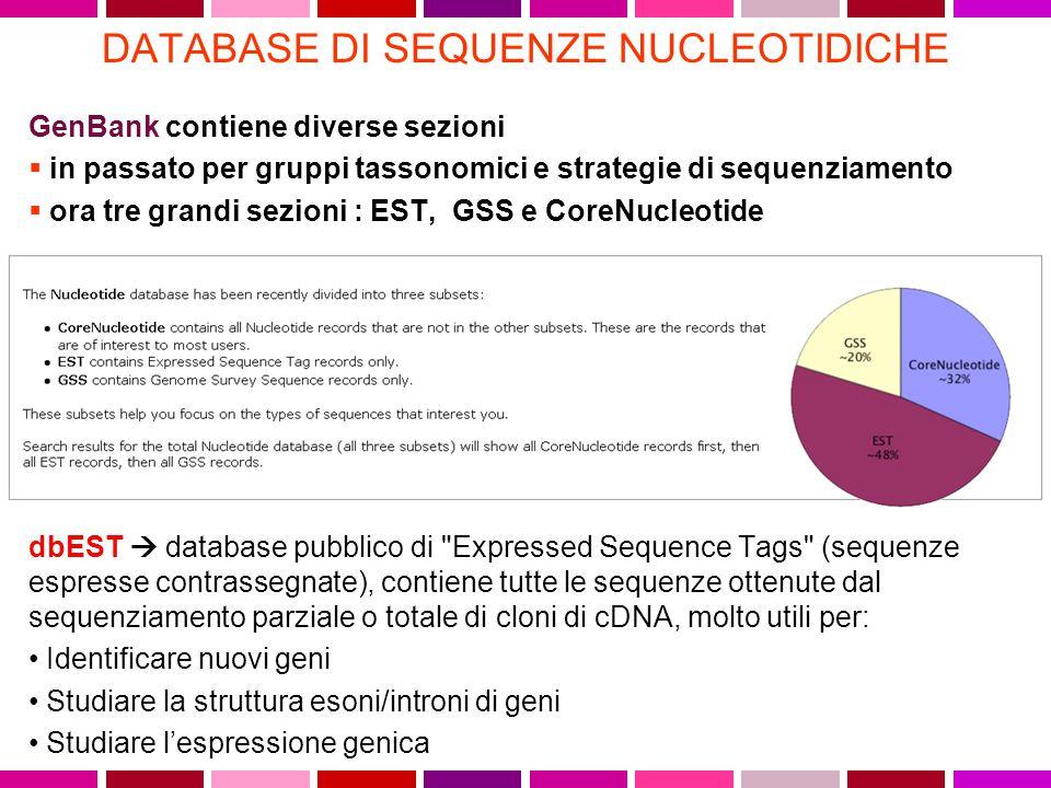 DATABASE DI SEQUENZE NUCLEOTIDICHE GenBank contiene diverse sezioni  in passato per gruppi tassonomici e strategie di sequenziamento  ora tre grandi sezioni : EST, GSS e CoreNucleotide dbEST  database pubblico di Expressed Sequence Tags (sequenze espresse contrassegnate), contiene tutte le sequenze ottenute dal sequenziamento parziale o totale di cloni di cDNA, molto utili per: Identificare nuovi geni Studiare la struttura esoni/introni di geni Studiare l'espressione genica