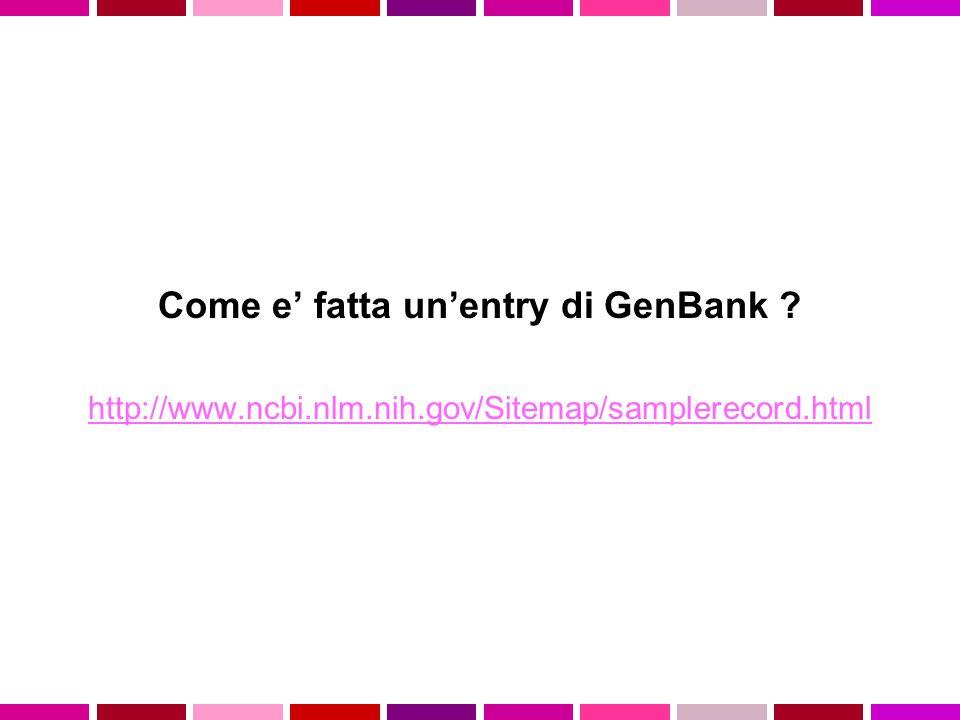 Come e' fatta un'entry di GenBank ? http://www.ncbi.nlm.nih.gov/Sitemap/samplerecord.html