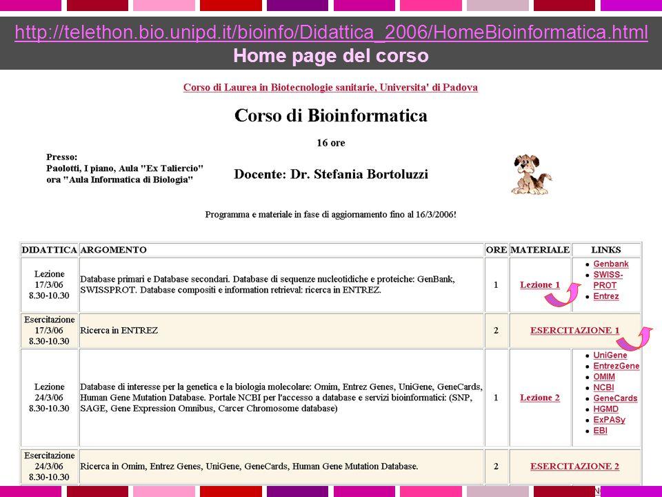 http://telethon.bio.unipd.it/bioinfo/Didattica_2006/HomeBioinformatica.html Home page del corso