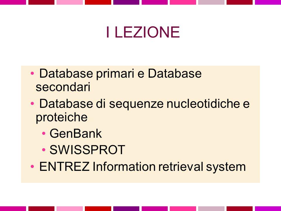 UniProt (Universal Protein Resource) Il piu' grande catalogo di informazioni sulle proteine.