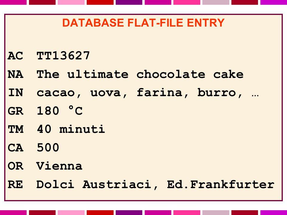 DATABASE FLAT-FILE ENTRY ACTT13627 NAThe ultimate chocolate cake INcacao, uova, farina, burro, … GR180 °C TM40 minuti CA500 ORVienna REDolci Austriaci, Ed.Frankfurter