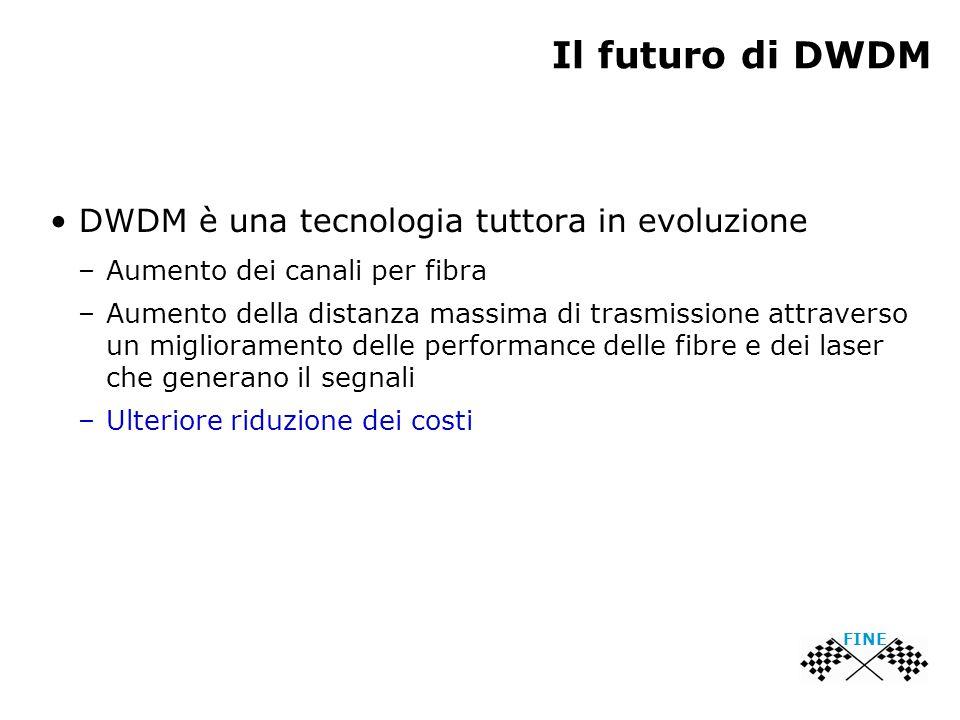 Il futuro di DWDM DWDM è una tecnologia tuttora in evoluzione –Aumento dei canali per fibra –Aumento della distanza massima di trasmissione attraverso un miglioramento delle performance delle fibre e dei laser che generano il segnali –Ulteriore riduzione dei costi FINE