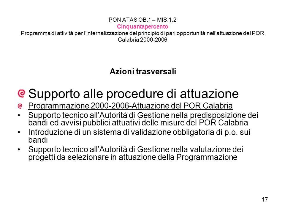 17 PON ATAS OB.1 – MIS.1.2 Cinquantapercento Programma di attività per l'internalizzazione del principio di pari opportunità nell'attuazione del POR C