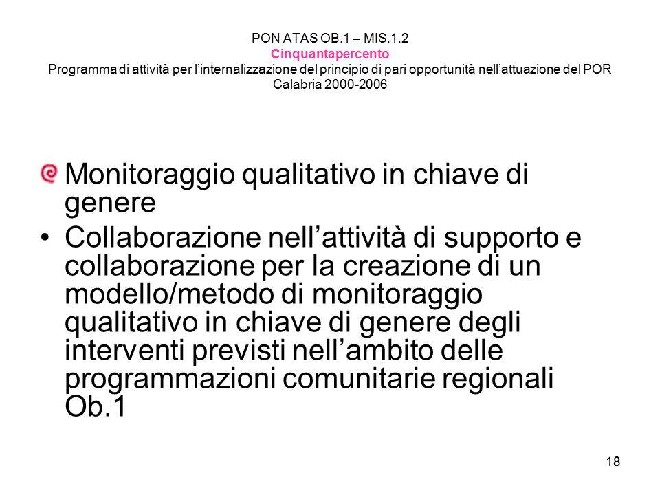 18 PON ATAS OB.1 – MIS.1.2 Cinquantapercento Programma di attività per l'internalizzazione del principio di pari opportunità nell'attuazione del POR C