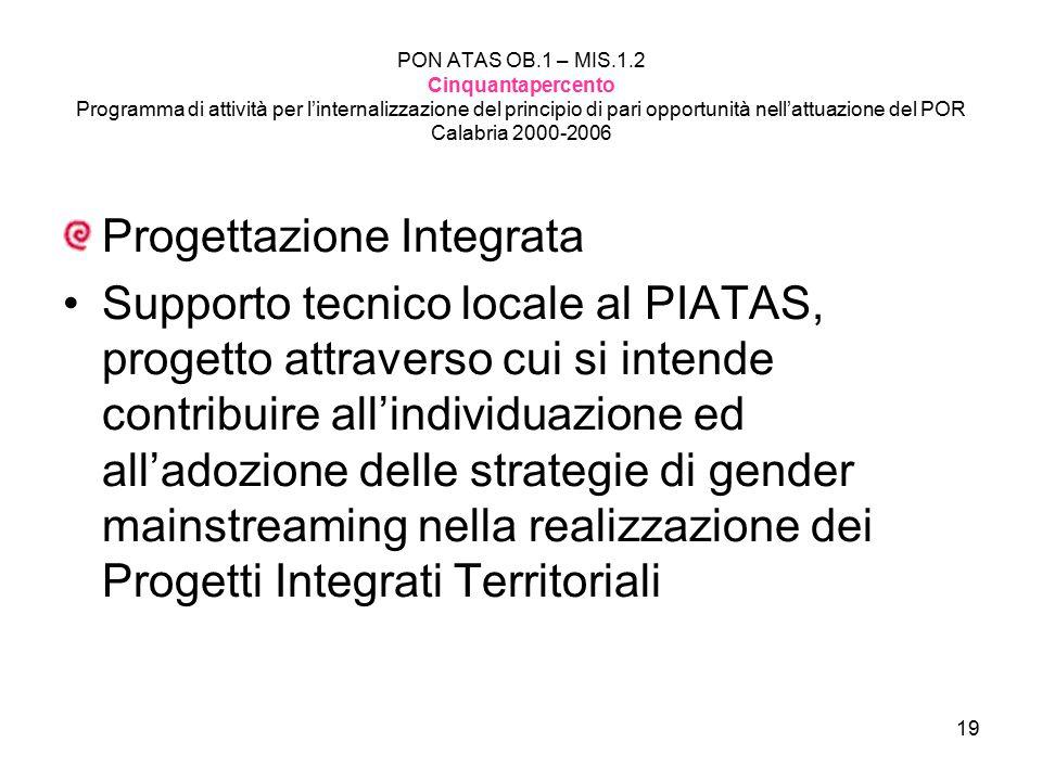 19 PON ATAS OB.1 – MIS.1.2 Cinquantapercento Programma di attività per l'internalizzazione del principio di pari opportunità nell'attuazione del POR Calabria 2000-2006 Progettazione Integrata Supporto tecnico locale al PIATAS, progetto attraverso cui si intende contribuire all'individuazione ed all'adozione delle strategie di gender mainstreaming nella realizzazione dei Progetti Integrati Territoriali
