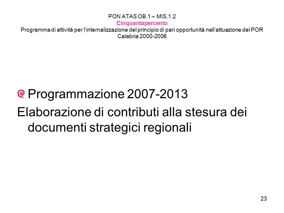 23 PON ATAS OB.1 – MIS.1.2 Cinquantapercento Programma di attività per l'internalizzazione del principio di pari opportunità nell'attuazione del POR C