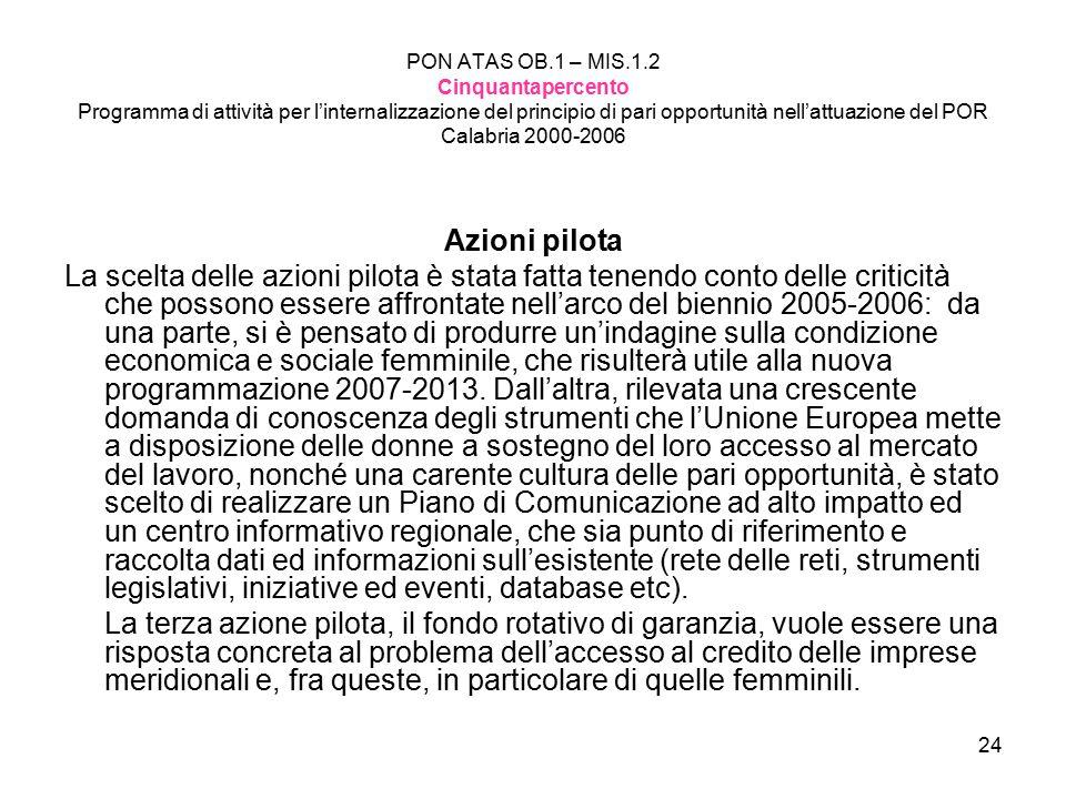 24 PON ATAS OB.1 – MIS.1.2 Cinquantapercento Programma di attività per l'internalizzazione del principio di pari opportunità nell'attuazione del POR Calabria 2000-2006 Azioni pilota La scelta delle azioni pilota è stata fatta tenendo conto delle criticità che possono essere affrontate nell'arco del biennio 2005-2006: da una parte, si è pensato di produrre un'indagine sulla condizione economica e sociale femminile, che risulterà utile alla nuova programmazione 2007-2013.