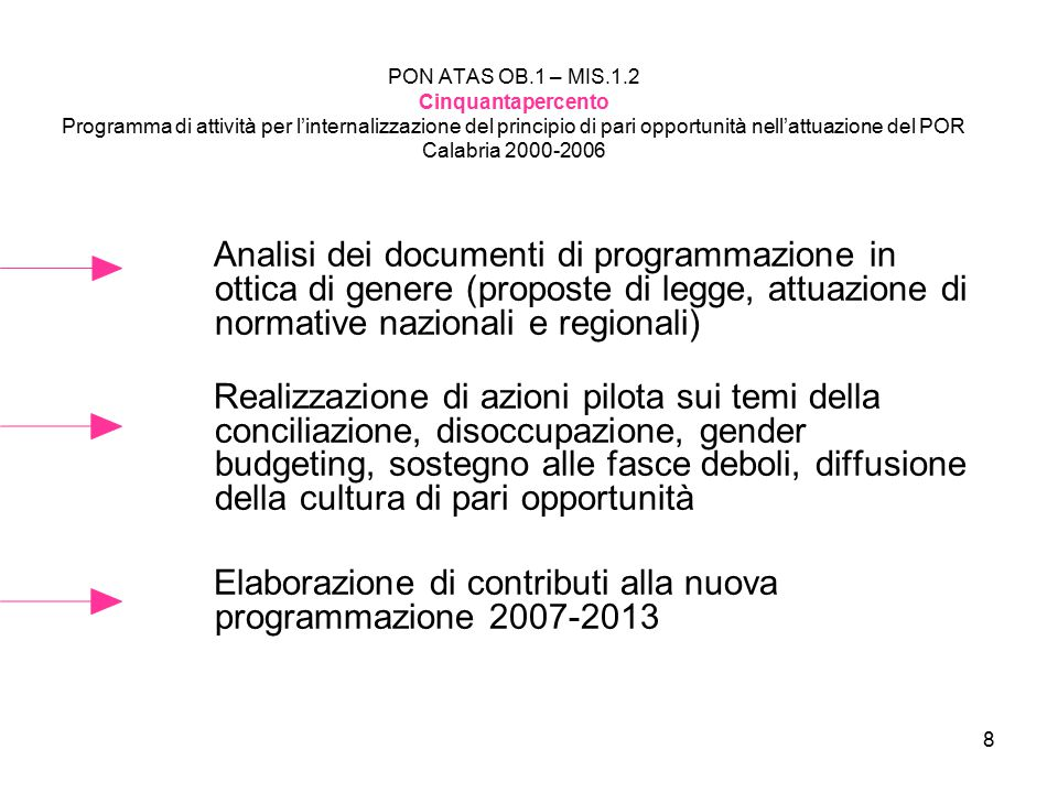 8 PON ATAS OB.1 – MIS.1.2 Cinquantapercento Programma di attività per l'internalizzazione del principio di pari opportunità nell'attuazione del POR Ca