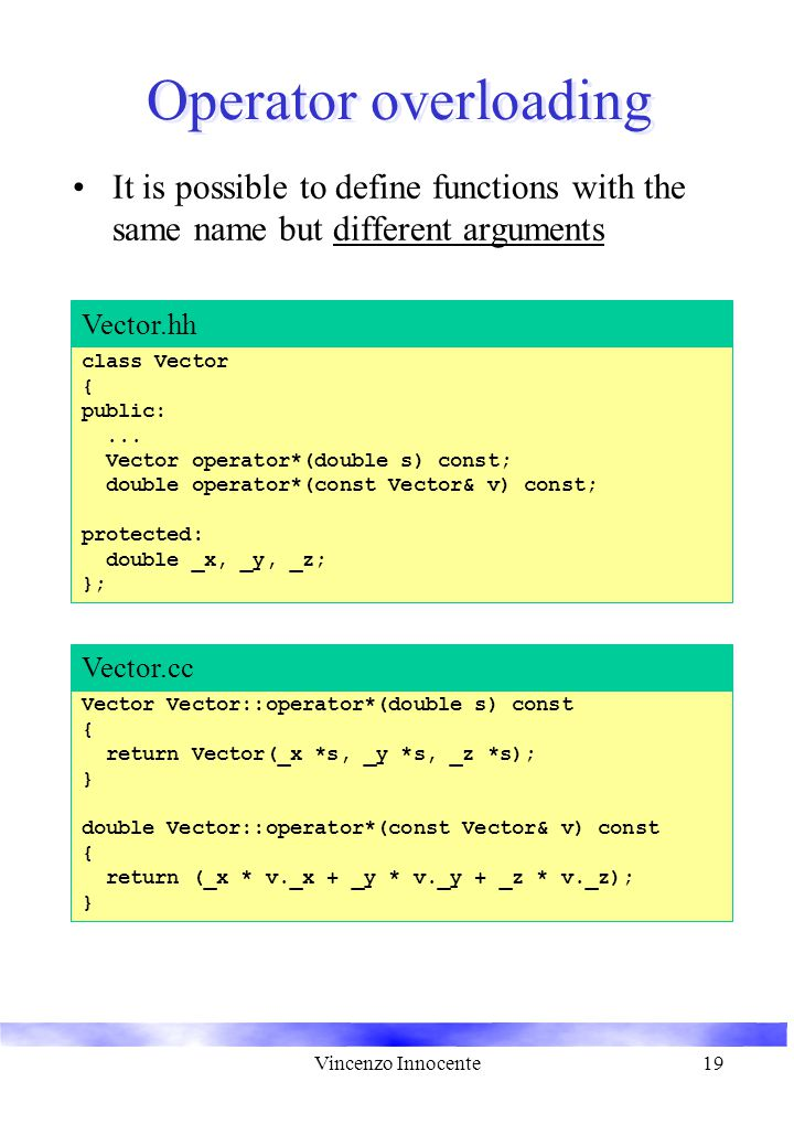 Vincenzo Innocente19 Operator overloading It is possible to define functions with the same name but different arguments class Vector { public:...