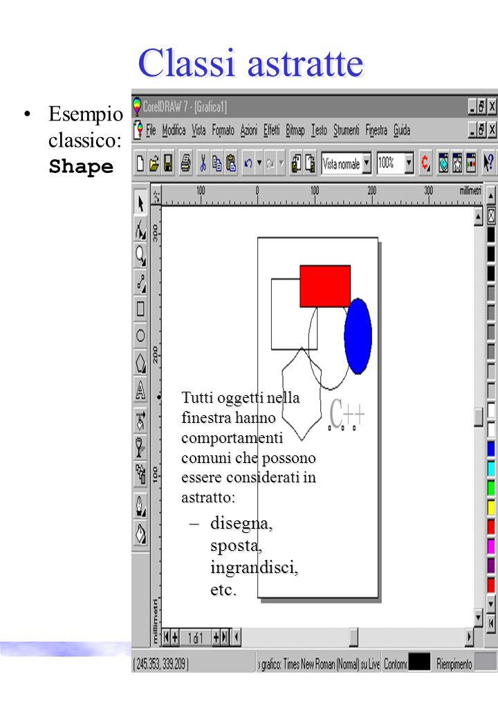 Vincenzo Innocente21 Classi astratte Esempio classico: Shape Tutti oggetti nella finestra hanno comportamenti comuni che possono essere considerati in