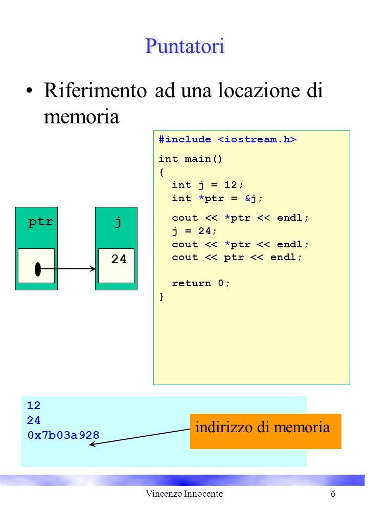 Vincenzo Innocente6 12 24 0x7b03a928 Puntatori Riferimento ad una locazione di memoria j 12 ptr int main() { int j = 12; return 0; } int *ptr = &j; #include cout << *ptr << endl; j = 24; cout << *ptr << endl; cout << ptr << endl; indirizzo di memoria 24