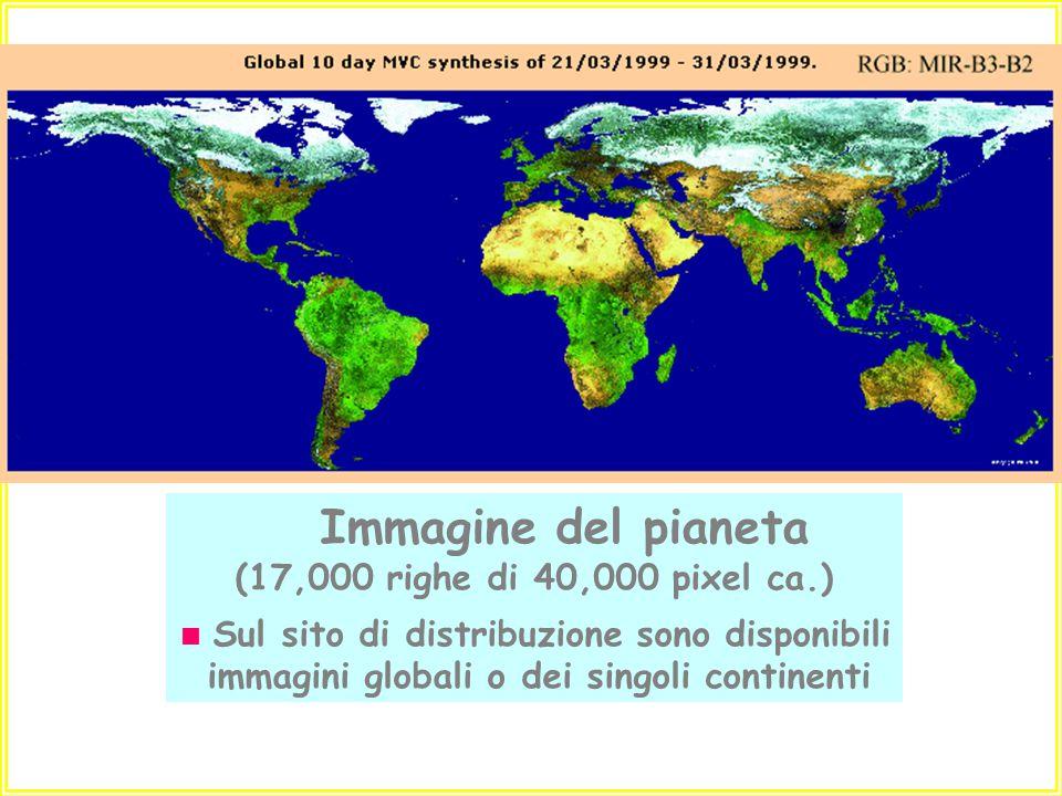 Immagine del pianeta (17,000 righe di 40,000 pixel ca.)  Sul sito di distribuzione sono disponibili immagini globali o dei singoli continenti